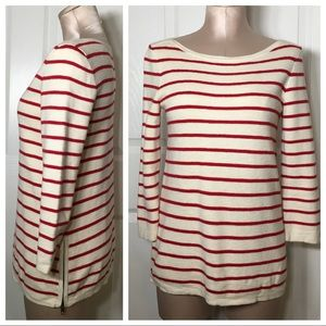 Madewell Striped Ivory Red Stripe Wool Blend Top S